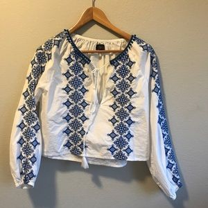 Ladies Shirt TopShop 6 white embroidery fancy trim